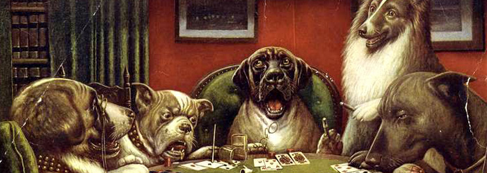 dogs playing poker video game
