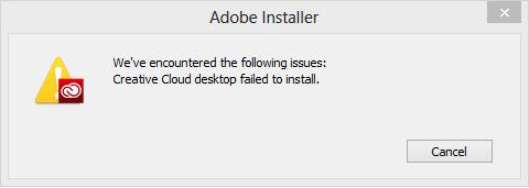 Creative Cloud desktop failed to install error fixed